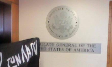 Ε.Π.Θ. – Ρουβίκωνας: Παρέμβαση στο Αμερικάνικο Προξενείο της Θεσσαλονίκης