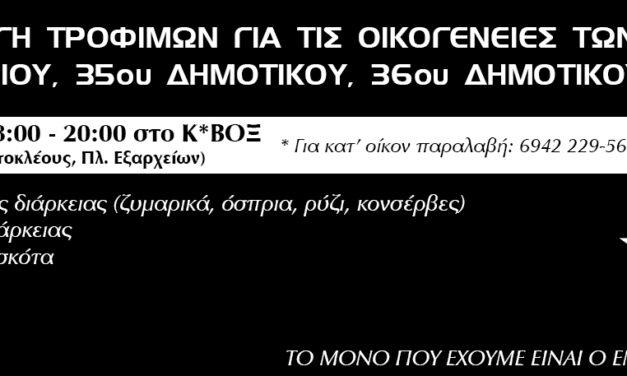 Συλλογή τροφίμων για τις οικογένειες των 95ου Νηπιαγωγείου, 35ου Δημοτικού, 36oυ Δημοτικού Αθηνών